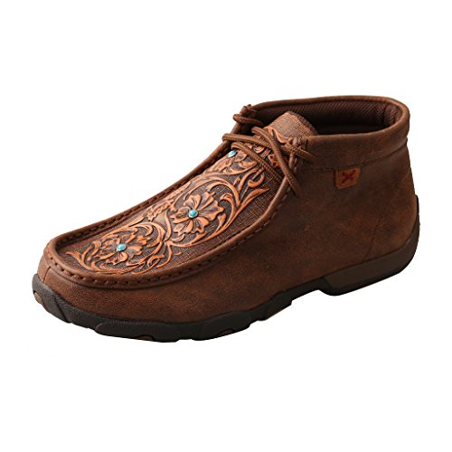 Twisted X Women's Leather Lace-Up D Toe Driving Moccasins - Brown/Tooled Flowers Tooled Leather Shoes