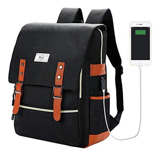Ronyes Vintage Laptop Backpack College School Bag for Women Men 15.6'' Laptop Casual Rucksack Water Resistant School Backpack Daypacks with USB Charging Port (Black)