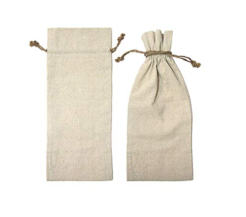 Economic Pack (1 Dozen) Natural Linen Wine Bags With Drawstrings, Candle Bags with Jute Cord, Great for your Event, Personalized Gift Favor Bonus Kraft Paper Gift Tags