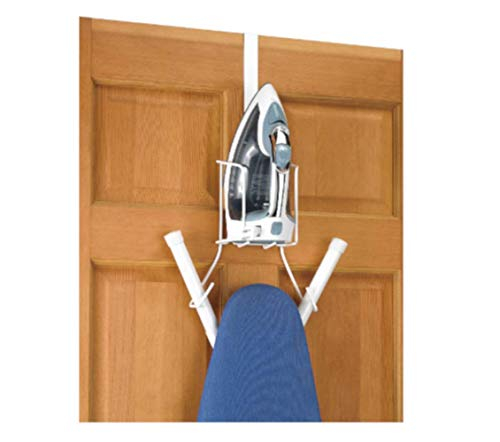 Wall Mounted Ironing Board Holder, White Color, Premium Quality, Wire, Ideal for All Kinds of Irons and Boards, Easy Set Up, Over The Door Storage, Caddy & E-Book Home Décor