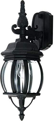 - Maxim 1030BK Crown Hill 1-Light Outdoor Wall Lantern, Black Finish, Clear Glass, MB Incandescent Incandescent Bulb , 100W Max., Dry Safety Rating, Standard Dimmable, Glass Shade Material, 5750 Rated Lumens