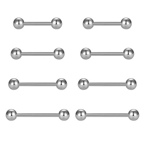(vcmart Nipple Rings Tongue Rings Stainless Steel Straight 14G Barbells Piercing Jewelry Silver 12mm,14mm,16mm,18mm)