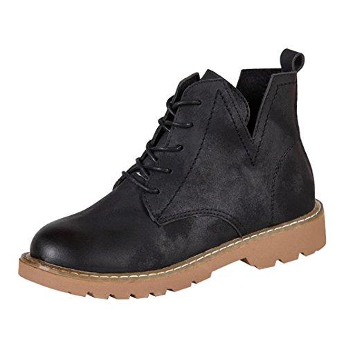 Women's Shoes,Dainzuy Fashion Women Low Ankle Trim Flat Ankle Leather Boots Casual Martin Shoes (EU:35 US:5.5, Black)