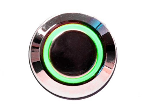 mod/smart Green Illuminated Bulgin Style Momentary Vandal Switch - 22mm -Silver Housing - Ring Illumination