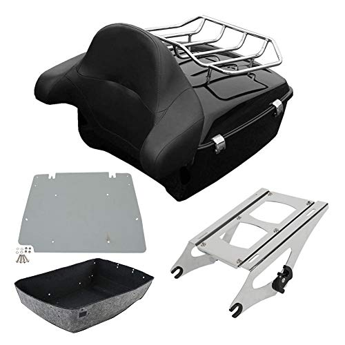 (XFMT King Tour-Pak Pack Trunk Backrest Luggage Kits Rack Compatible with Harley Davidson Touring Road King, Road Glide, Street Glide and Select CVO Models 2014-later)
