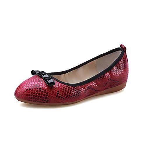 AllhqFashion Damen Niedriger Absatz Gemischte Farbe Rot Rund Zehe Pumps Schuhe Rot Farbe a59eb5