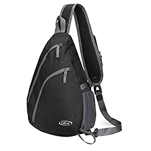 G4Free Sling Shoulder Backpack Chest Crossbody Bag One Strap bag for School Men Women, Girls Boys Lightweight Triangle Pack Rusksack Hiking Camping Bicycles Daypacks 15L(Black)