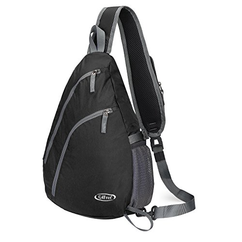 G4Free Sling Shoulder Backpack Chest Crossbody Bag One Strap Bag for Men Women Lightweight Triangle Pack Rusksack Hiking Camping Bicycles Daypacks 15L(Black)