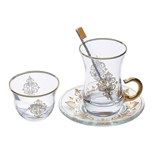 TeaCay Turkish Tea Glass Cups and Mini Water Glass , Authentic Turkish Tea Glass Set , Tea Glass Gift , Set of 6 ( 6 x Tea Glass + 6 Under Plate + 6 Tea Spoon + 6 Mini Water Glass) (Gold)