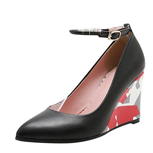MissSaSa Damen modern Knöchelriemchen Pointed Toe Pumps mit Strass Schwarz
