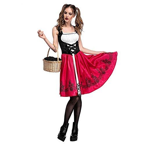 Biback Cappotto Da Donna Rosso Halloween Al Gonna E Cappuccio Rimovibile Costume Di Ginocchio Cappuccetto wnmv0ON8