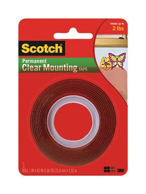 051131762725 - Scotch Clear Mounting Tape, 1-inch x 60-inches, 1-Roll (4010) carousel main 1