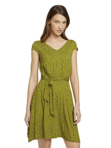 TOM TAILOR Damen 1026052 Basic Kleid, 26895-Green Geometrical Design, 46