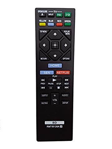 VINABTY B126A New Replaced Remote RMT-B126A fit for Sony Blu-Ray DVD Player (Blu Ray Sony Bdp S6200)