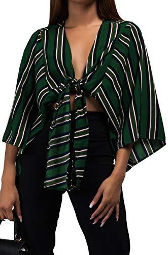 AKIRA Women's Shadow Stripe Silky Kimono Sleeve Tie Front Crop Top Blouse-Green_L - Shadow Stripe Tie