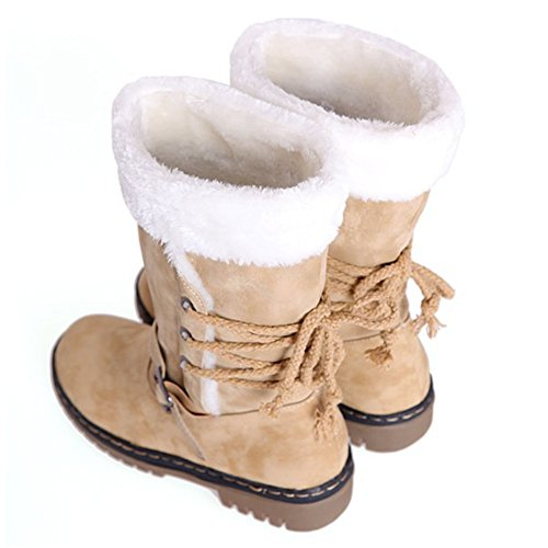 Snow Boots Fur Lining Fashion Snow Casual Drawstring Heavy Yellow Women's Weather Winter Cold Warm qw5T6U7