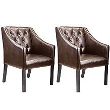 CorLiving LAD-628-C Antonio Accent Club Chair Bonded Leather, Set of 2, Espresso, Brown