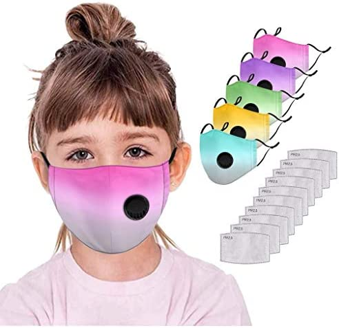 Children's Reusable Washable Cotton Face_mask, Andees【USA in Stock 】 Kids Face Mouth Bandanas with Breathing Valve + Filters,Outdoor Anti-Haze Dust Face Protection for Boys Girls