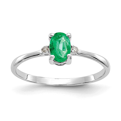 14k White Gold Diamond Green Emerald Birthstone Band Ring Size 6.00 Stone May Oval Fine Jewelry Gifts For Women For Her
