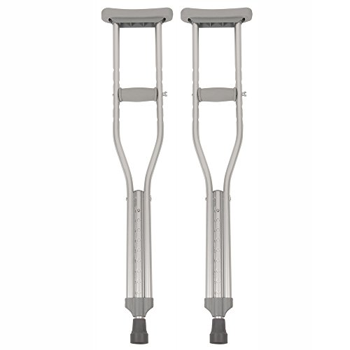 PCP Push Button Adjustable Height Crutches, Chrome, Junior Youth Size