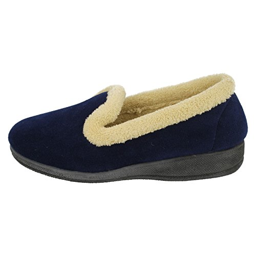 Ladies Four Seasons Slip On Slippers Emma Navy dlWc31ZoY7
