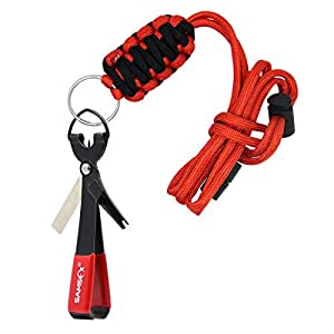 SAMSFX Quick Knot Tool and Fly Fishing Tippet Spool Holder Necklace Lanyard Combo, Breakaway Lanyard & Black Knot Tool
