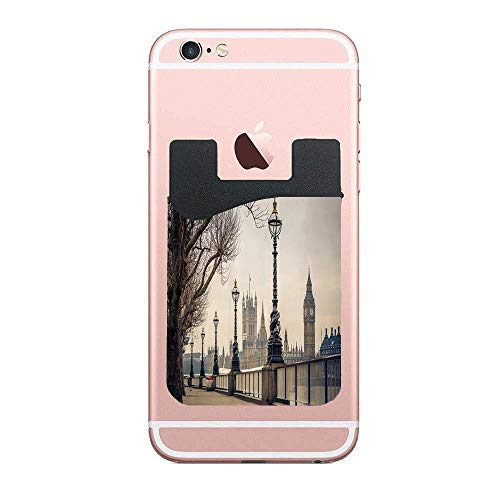 CardlyPhCardH View of Big Ben and Houses of Parliament from The Riverside with Retro Street Lights Picture Authentic Cell PhoneCard Holder Stick on Wallet Pouch for Apple iPhone 2 PCS
