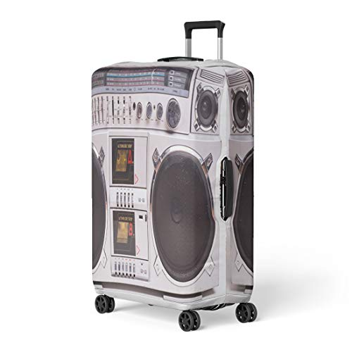 Pinbeam Luggage Cover Front View of Vintage Boom Box Cassette Tape Travel Suitcase Cover Protector Baggage Case Fits 26-28 inches ()