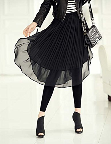 Legging Midi Femme Long Casual en Jupe avec Bureau Chiffon en Confortable Mode Asymtrique Plisse Aivtalk pour Respirant Elastique 1 Noir Jupe 2 5gXdgqw