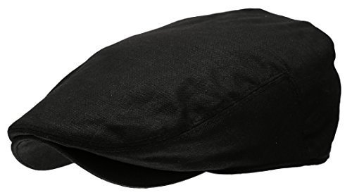 Men's Linen Flat Ivy Gatsby Summer Newsboy Hats (Black, (Herringbone Flat Cap)