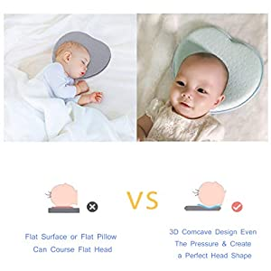 FIRSTLIKE Baby Head Shaping Pillow, Baby Pillow for Newborn Infant,3D Memory Foam Can Support Head & Neck Pillow for Baby Boy & Girl