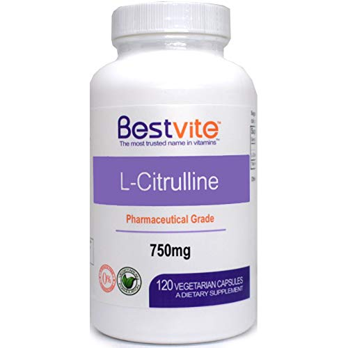 L-Citrulline 750mg (120 Vegetarian Capsules) – No Stearates – No Fillers – No Flow Agents