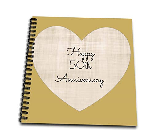 3dRose db_221903_2 Happy 50th Anniversary with Gold Colored Heart Background-Memory Book, 12 by 12