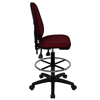Boswell Mid-Back Burgundy Fabric Swivel Home//Office Task Chair Lumbar Support