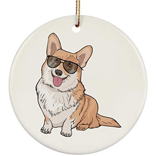 Pembroke Welsh Corgi Dog Christmas Tree Ornaments Decorations, Dog Lover Gifts R8260A, Circle (Tree Christmas Welsh Corgi)