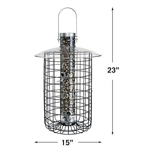 Droll Yankees Domed Cage Sunflower Seed Bird Feeder, 20 Inches, 6 Ports, Black by Droll Yankees (Image #1)