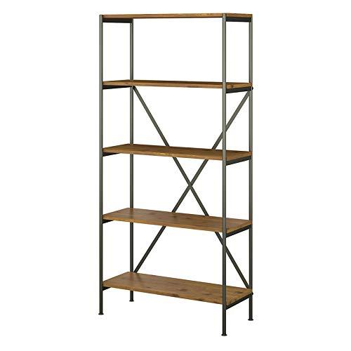 kathy ireland Home by Bush Furniture Ironworks 5 Shelf Etagere Bookcase in Vintage Golden Pine