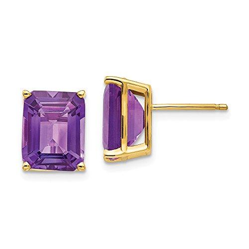 Perfect Jewelry Gift 14k 10x8mm Emerald Cut Amethyst Earrings