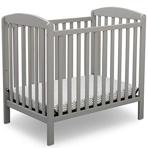 Delta Children Emery Mini Convertible Baby Crib with Mattress, Grey
