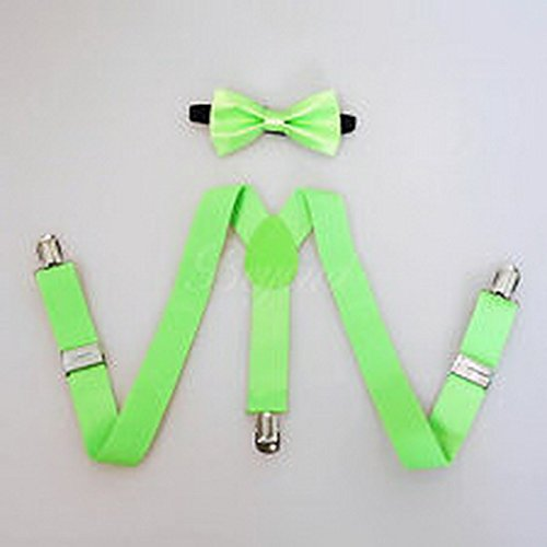 Scott Allah design - Accessories Neon Green Suspender and Bow Tie Set for Baby Toddler Kids Boys Girls (Suspenders Batman Toddler)