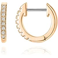 PAVOI TC61-RP 14K Gold Plated Cubic Zirconia Cuff Earrings Huggie Stud
