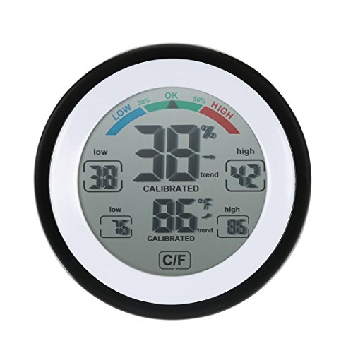 Price comparison product image Dressffe Mini Temperature Humidity Meter Clock Screen Control Thermometer Round Home Digital Hygrometer Indoor Humidity
