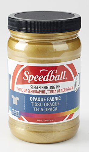Speedball 004828 Opaque Fabric Screen Printing Ink, 32 fl. oz, Gold