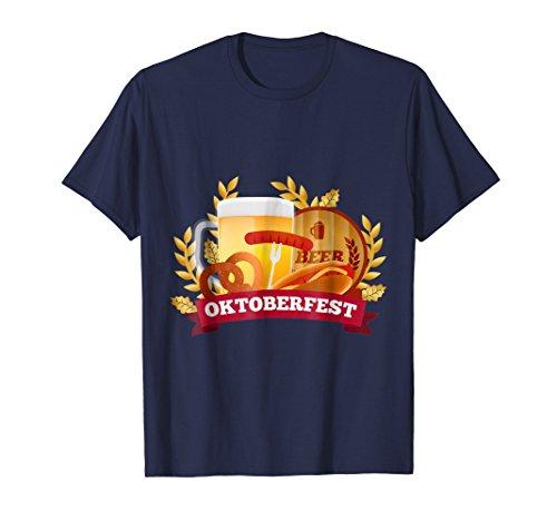 German Beer T-shirts - Mens Oktoberfest German Beer Pretzel Funny T-Shirt 2XL Navy