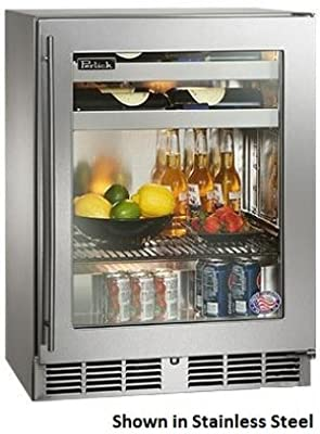 "Perlick HH24BS-3-4R 24"" Shallow-Depth Series Indoor-Use Beverage Center with Rapidcool Forced Air Refrigeration System Stainless Steel Interior and 700 BTU Variable-Speed Compressor: Fully Integrated Glass Door Hinge"