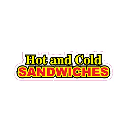 Hot And Cold Sandwiches Concession Restaurant Die-Cut Window Static Cling 10 inches Inside - Die 10 Film Cut Window Inch