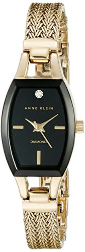 Anne Klein Women's AK/2184BKGB Diamond-Accented Dial Gold-Tone Mesh Bracelet Watch