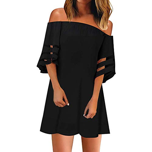 - Striped Off Shoulder Shirt Tie Knot Casual Tops,Londony Women's Mesh Panel Blouse 3/4 Bell Sleeve Loose Top Shirt Black