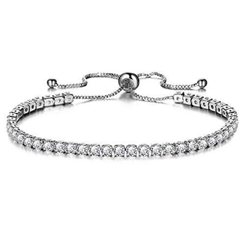 FuSi Women's Slider Tennis Chain Crystal Bracelet Gold Shiny Crystal Slip Full Diamond Jewelry Bracelet (Pure White)