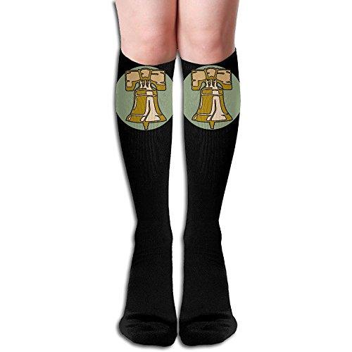 ZHONGJIAN Unisex Knee High Long Socks Liberty Bell United States Boot High Socks Length 50cm